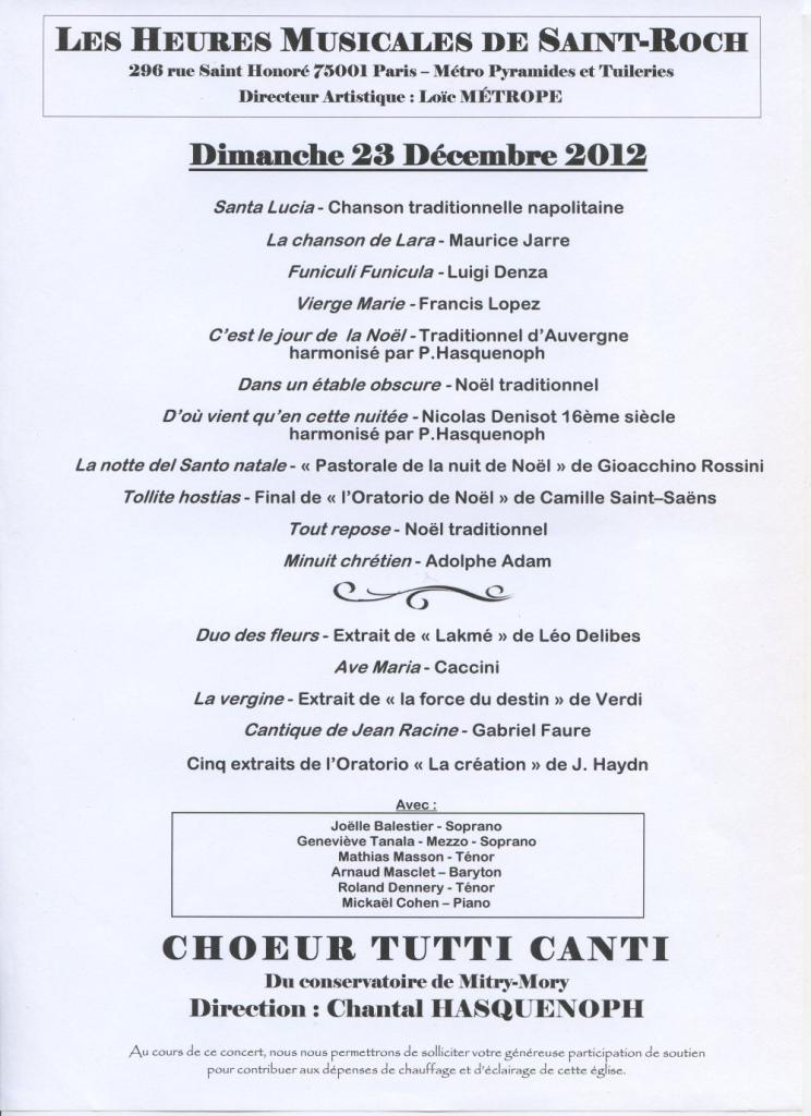 2012 - Les heures musicales de St Roch