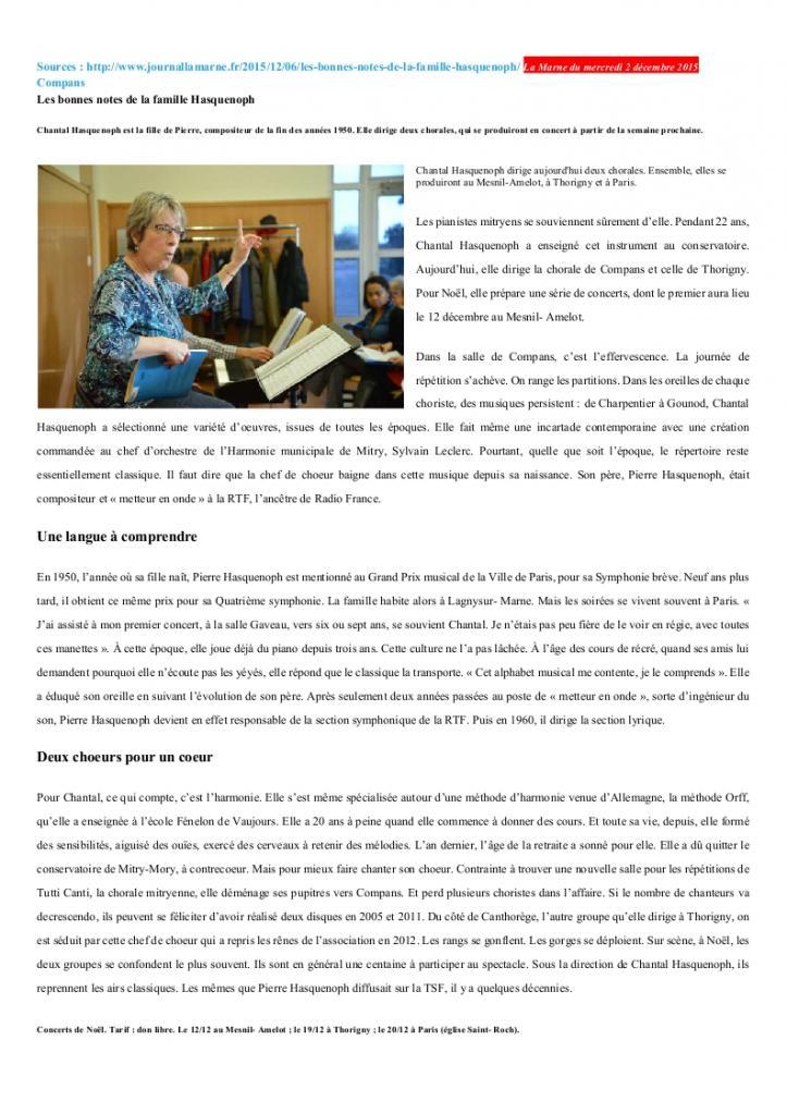 Article sur Chantal Hasquenoph La Marne Noël 2015