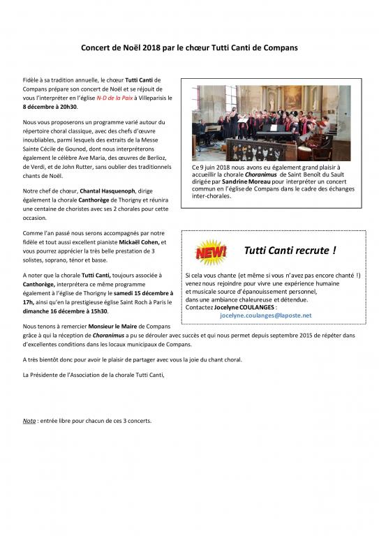 2018 - Noël - Article pour journal local -  COMPANS