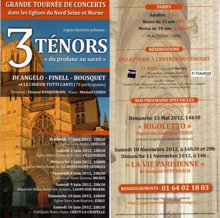 2012 - Grande tournée nord Seine et Marne les 3 ténors