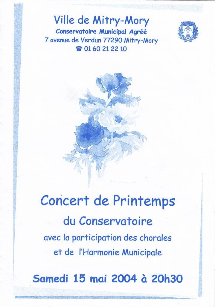 2004-Concert de printemps du Conservatoire municipal de Mitry-Mory