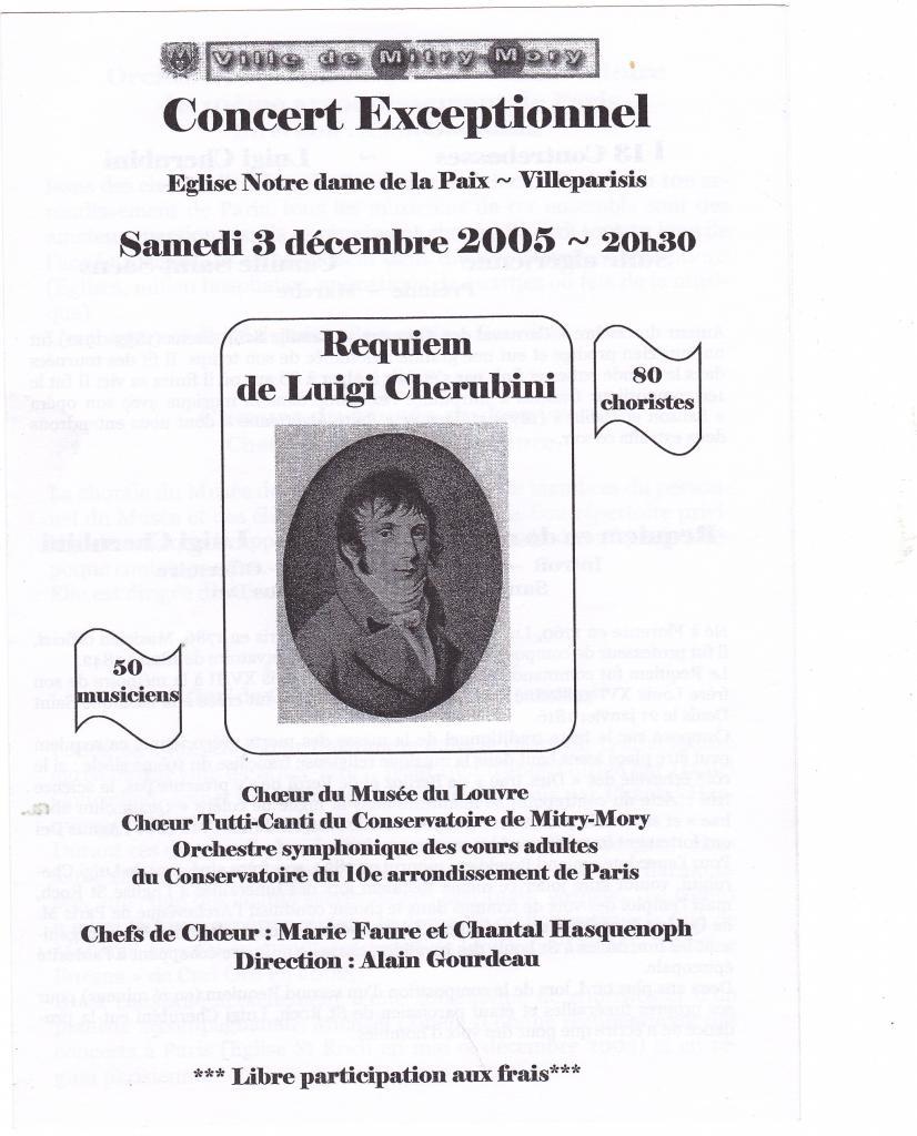 2005-Concert  exceptionnel Luigi Cherubini à Villeparisis