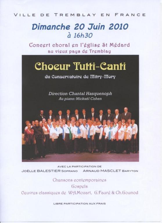 2010 - Concert Tutti Canti à Tremblay en France