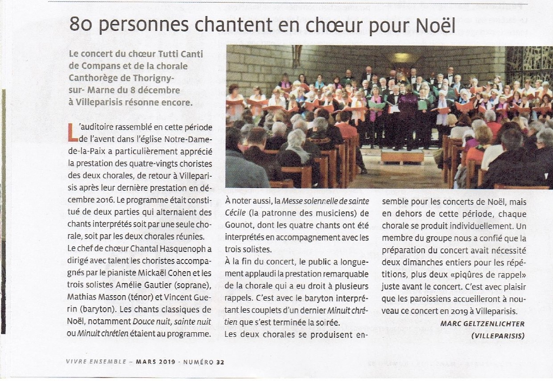 Noël 2018 - Villeparisis - article Vivre Ensemble
