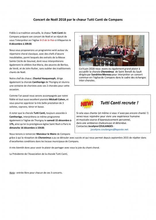 2018 - Noël - Article pour journal local -  COMPANS