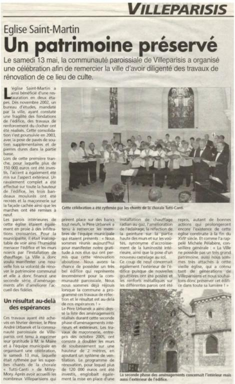 13 mai 2006 - Eglise St Martin à Villeparisis